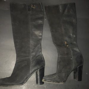Black suede and leather boots.